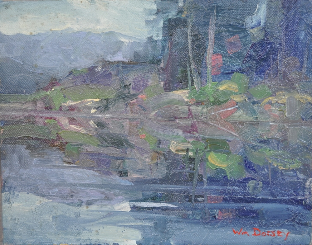"Tutka Lagoon, Alaska, oil on canvas 8"" x 10""  Dorsey developed a love for Alaska when his father was stationed there with the Air Force from 1949 to 1951. Following his graduation from high school, he returned to this land of adventure, piloting a Piper Cub from California to Alaska in 1961 in the then-rapid time of five days. Considering he only had 50 hours of flight experience, it was considered an astonishing feat at the time. Snow capped Alaskan mountains are reoccurring themes in the artist work."