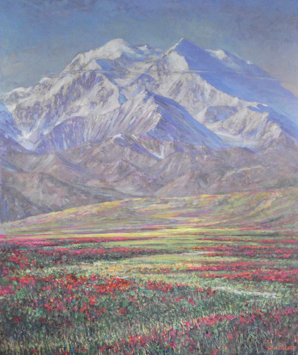 """Mt. Mckinley, Alaska, oil on canvas 30"""" x 36""""Dorsey has had work in auctions alongside early California Masters of Plein-Air painting. Beautiful large painting."""