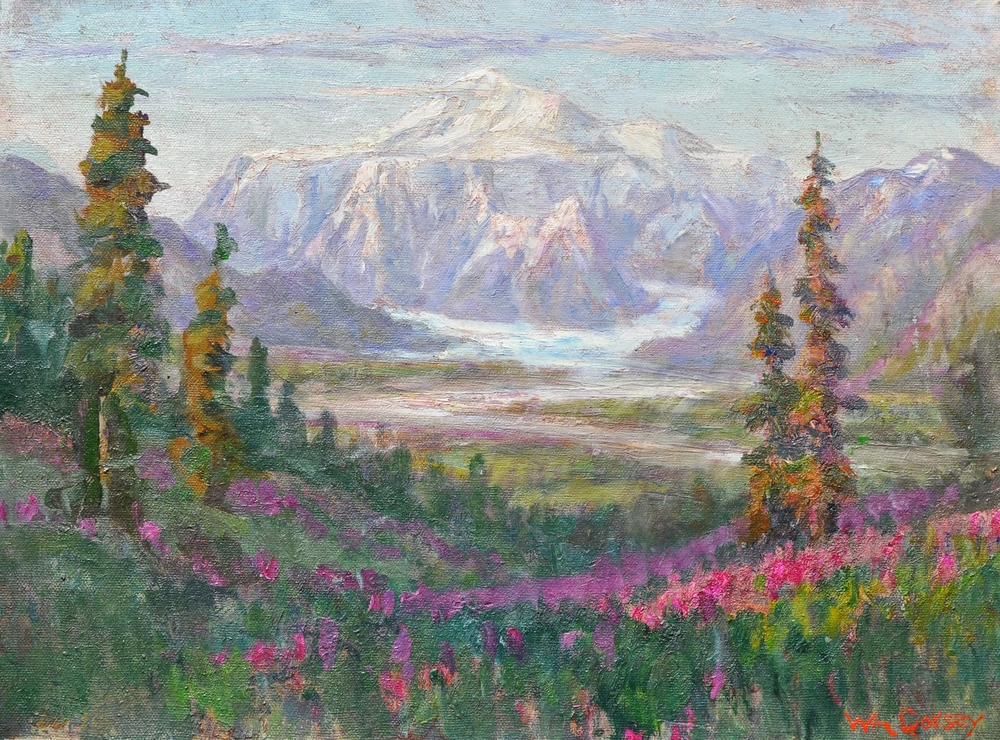 """Tokositna Glacier, Alaska,oil on board 16"""" x 20"""" This is the official website for impressionist painter William Dorsey. Many of the paintings represented here are from the artist's personal collection."""