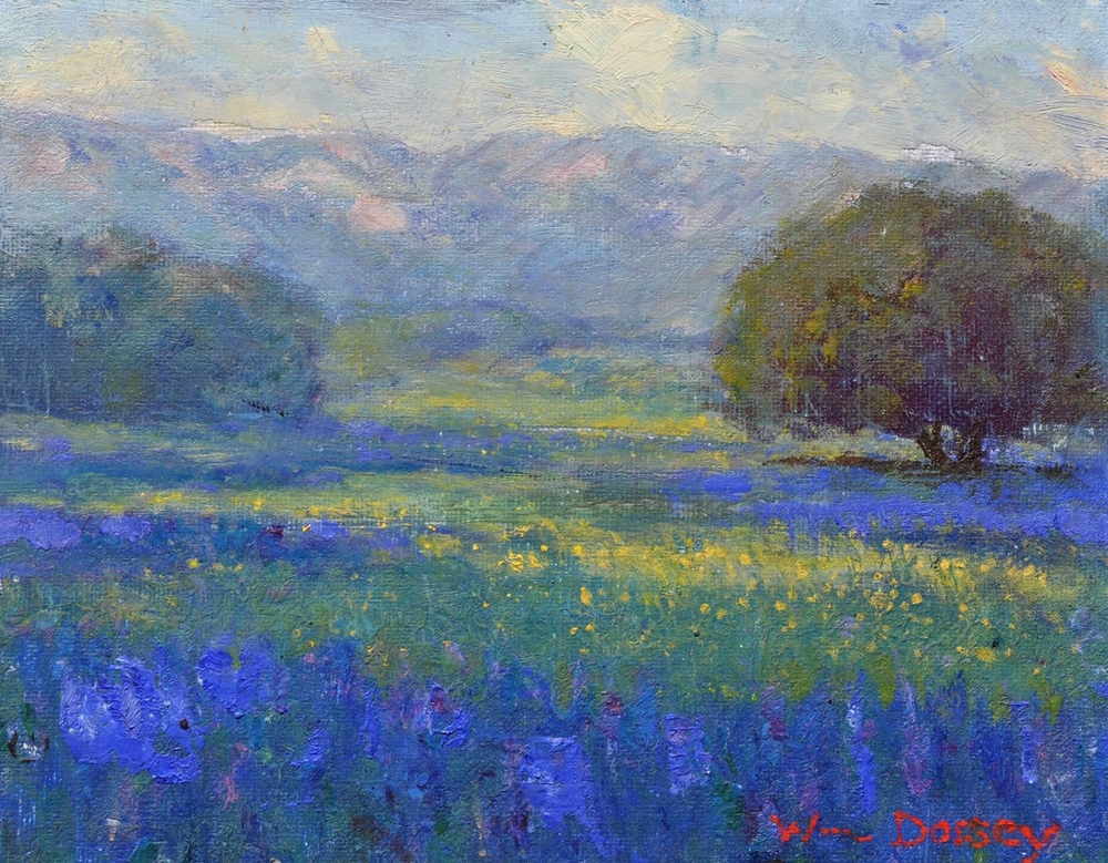 "Ojai Lupins & Mustard, oil on board 8"" x 10"" Artists Appearing in the same auctions as Dorsey include Edgar Payne, Maurice Braum, Paul Grimm and William Wendt"