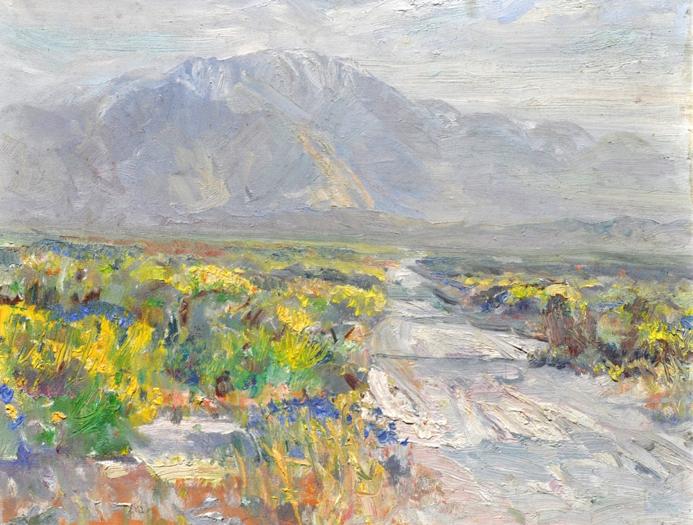 "San Jacinto & Rabbitbrush, oil on canvas 16"" x 20""  He was influenced and inspired by Alaskan painter Sydney Laurence and the early California Impressionists. Painting oil landscapes primarily of California and Alaska, Dorsey travels extensively. He has painted, shown and published in: Stowe, Vermont; Taos, New Mexico; Sun Valley, Idaho; Jackson Hole, Wyoming; as well as California and Alaska."