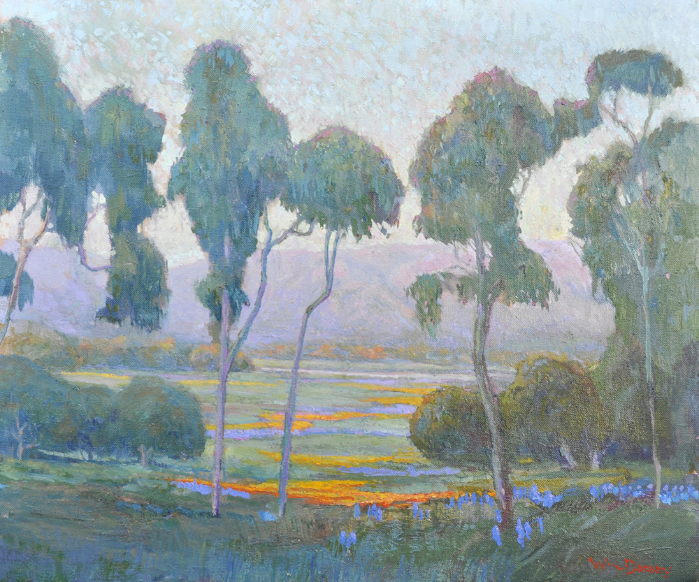 """Villanova Meadow, Ojai, oil on canvas 24"""" x 30"""" By Artist William Ballantine Dorsey. ManyPremier collectors of California art own his paintings."""