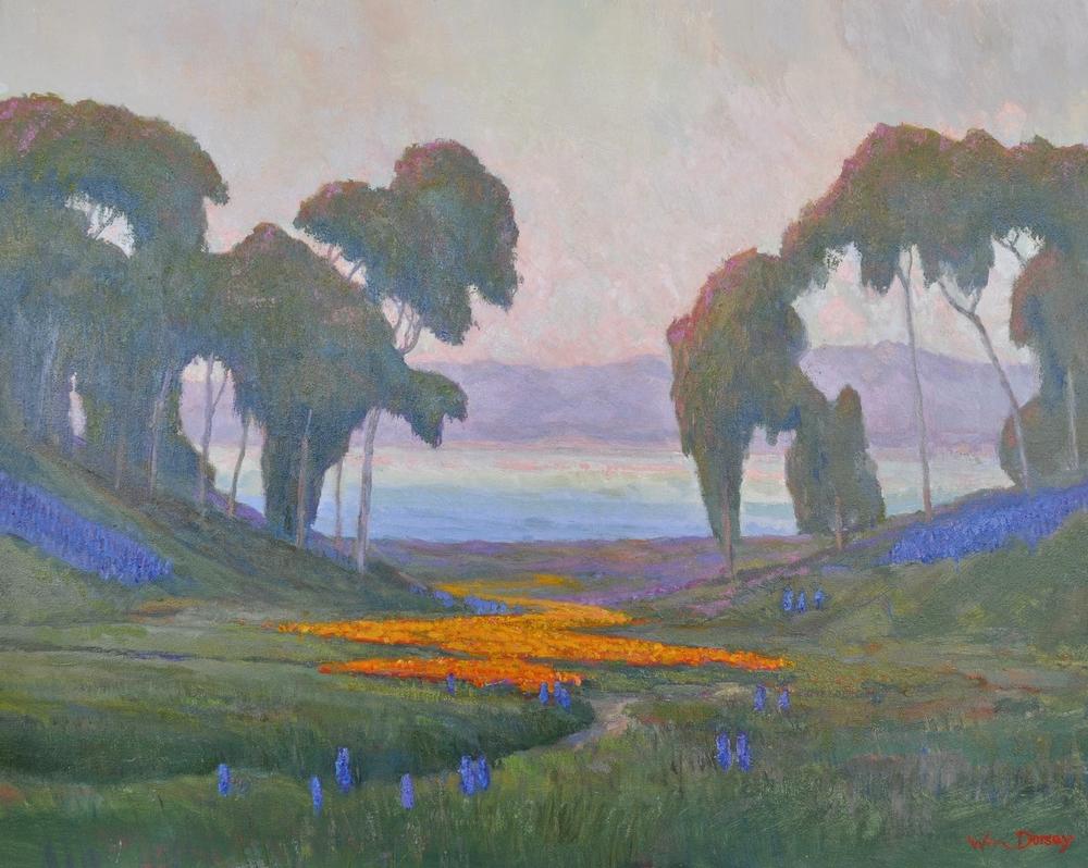 "Coastal Poppies, oil on canvas 24"" x 30"" Impressionist California Painter William Dorsey. Vibrant landscape painting."