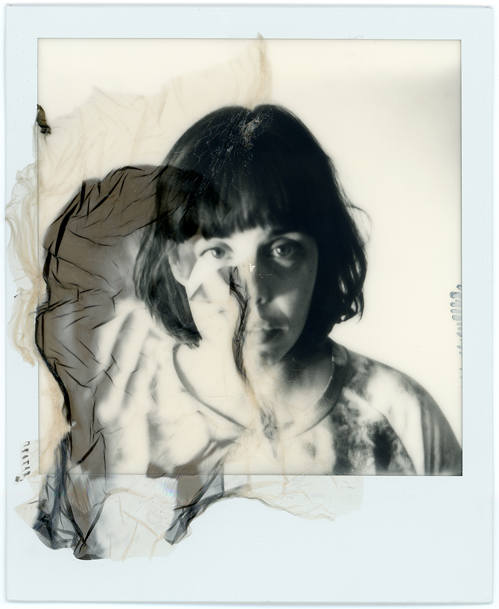 Emulsion lift of color polaroid on monochrome polaroid 'Doble Luisa' - 2015