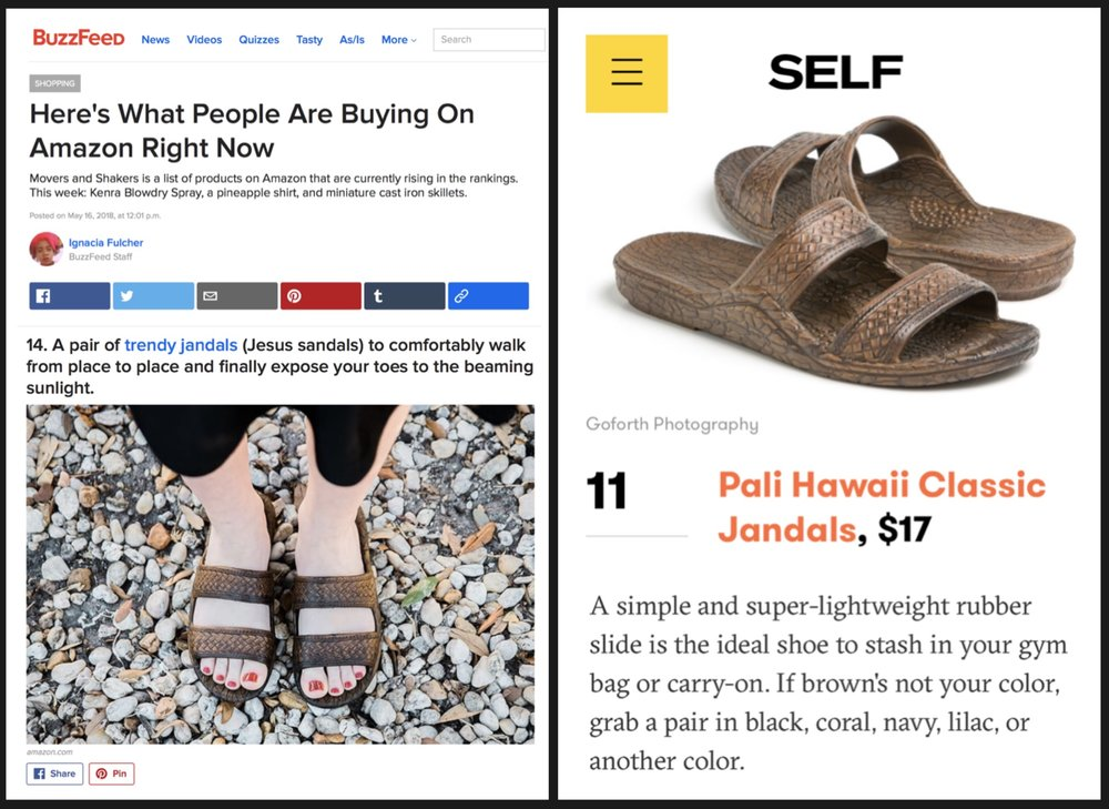 Media Coverage - Pali Hawaii's Classic Jandals have recently been featured in Buzzfeed and SELF — and also made a cameo appearance in Season 14 of The Bachelorette on ABC!