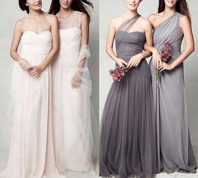Blush & Grey  Monique Lhullier bridesmaid dresses