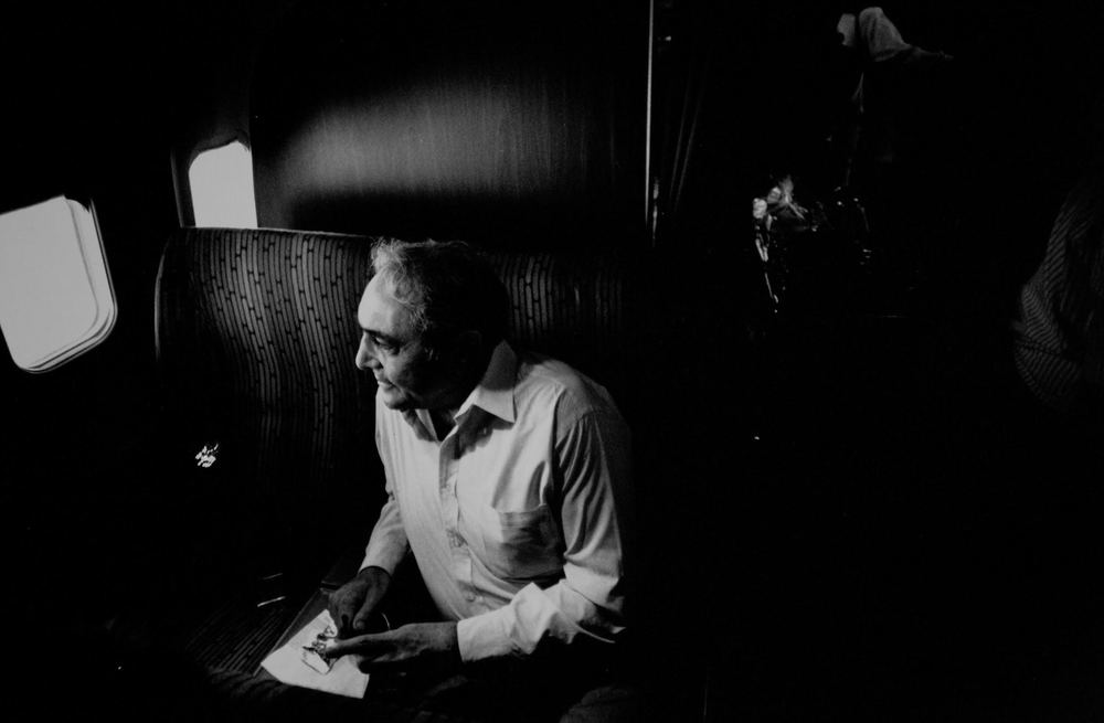 Then Jersey City Mayor, Anthony Cucci, flies home from Miami after a political trip to Peru during which a train derailed, resulting in the death of his wife. Photograph by Bill Bayer.