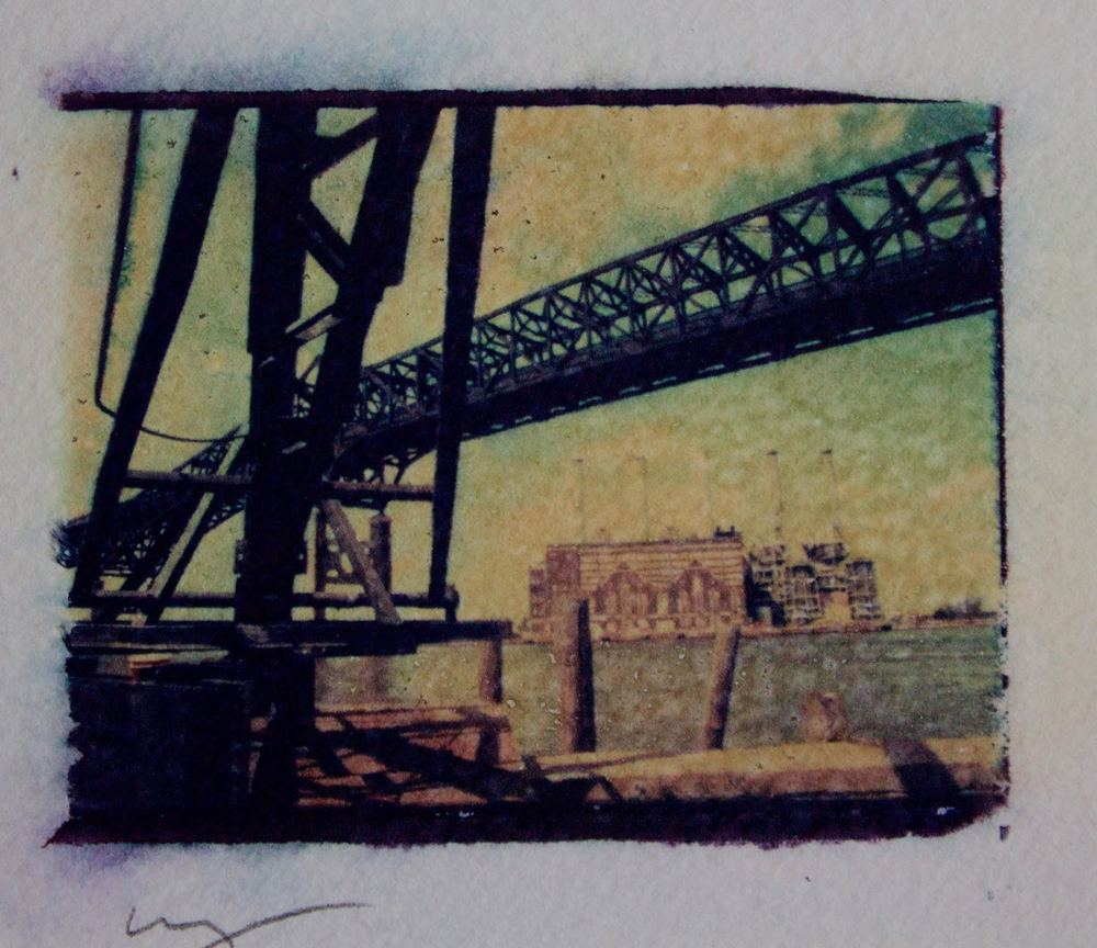 Polaroid dye transfer of Pulaski Skyway, Jersey City. Photograph by Bill Bayer.