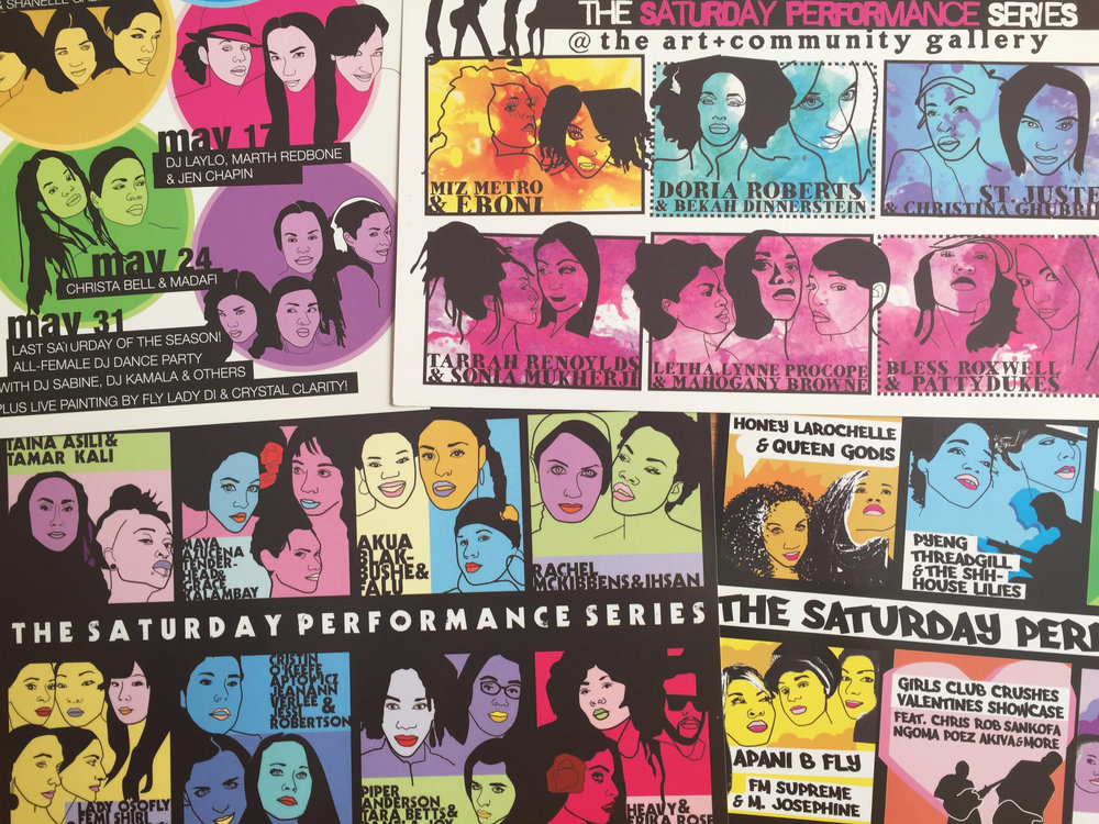 Caits-designed flyers for women's performance series; courtesy of the artist