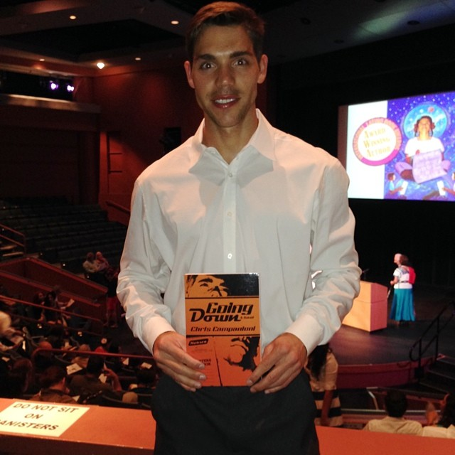 Campanioni at the 2014 International Latino Book Awards, where  Going Down  won Best First Book