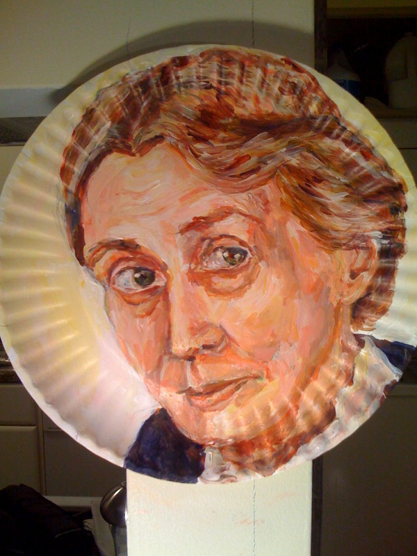 Paper plate portrait of Virginia Woolf; courtesy of the artist