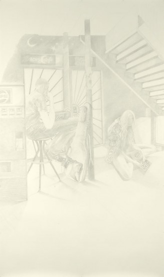 Josephine Taylor,  Verse 4 , 2018, Graphite on paper, 118 x 70 inches.  Image courtesy of Catharine Clark Gallery