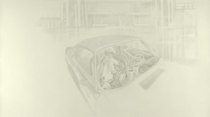 Josephine Taylor,  Verse 2 , 2018, Graphite on paper, 70 x 126 inches.  Image courtesy of Catharine Clark Gallery