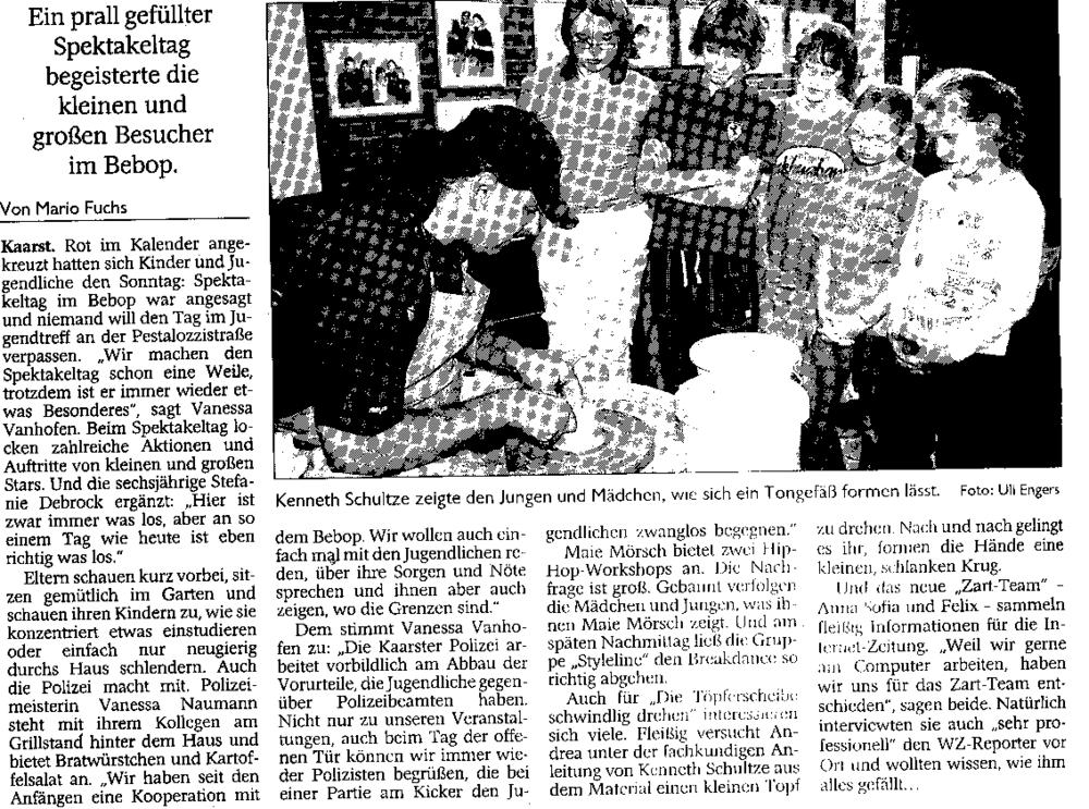 """Artikel vom 26. September 2006 aus der Westdeutsche Zeitung mit dem Titel """"Jugendliche haben den Dreh raus""""."""