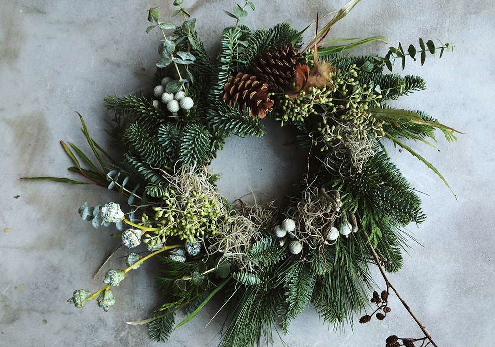 the forge creative workshops modern festive wreath with ruby and the wolfpng - How To Make A Christmas Wreath