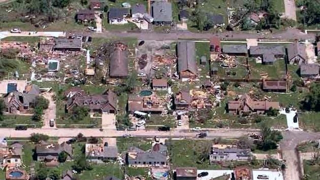 Tornado damage in Coal City, IL. (Photo courtesy of ABC 7- Chicago; click photo for more pictures of storm damage). 6-22-15