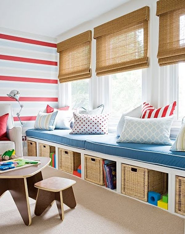 Kid-Friendly- this window bench not only provides seating, but it come in handy for clean-up and hiding the kids' toys. Choosing bright colors livens up the space and makes it feel more open.. Bright colors are great for provoking a growing child's imagination, as well bring a smile to anyone's face. (Check out these other kid-friendly 3 Season Rooms here).