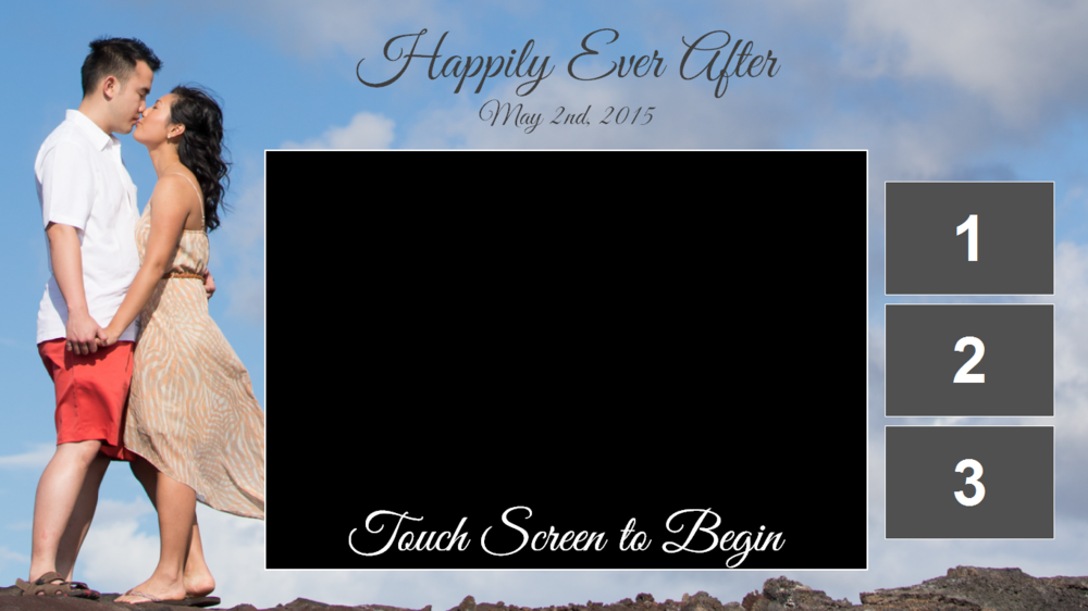 Customized Live View screen that allows guests to see their completed photos on the right hand side.