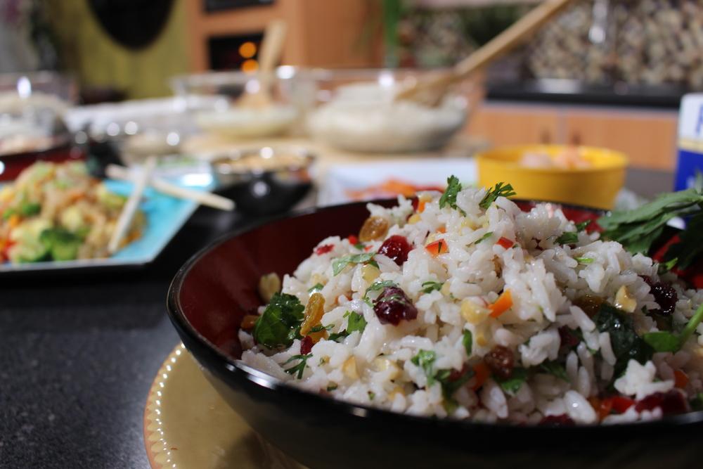 Mediterranean Mezze with Riceland Rice Stuffed Grape Leaves vegan gluten-free Lebanese cuisine