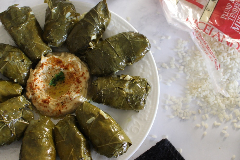Mediterranean Mezze with Riceland Rice Stuffed Grape Leaves vegan gluten-free Lebanese cuisine Family cooking making memories