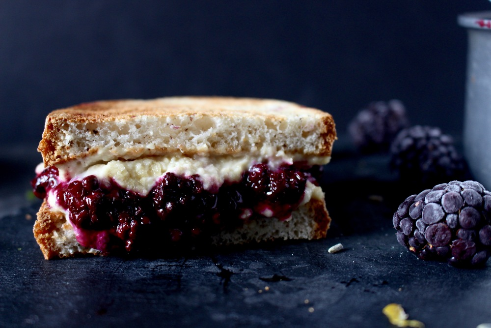 Lavender Lemon & Blackberry Ricotta Grilled Cheese Sandwich // gluten free vegan lunch recipes | Miami Lifestyle blogger Zeinab Kristen | Your off the grid guide to simple slow sustainable travel & lifestyle
