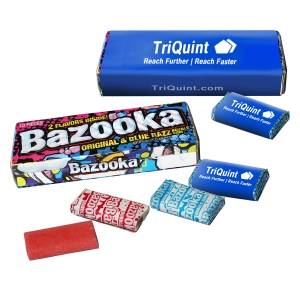 Bazooka bubblegum is a classic chewing favorite in America when it was introduced after World War II, Bazooka's appearance in candy aisles boosted citizens' already strong sense of patriotism with its cheery and bold red, white and blue packaging. Our 10 piece packs include the Classic original Bazooka bubblegum and the Blue RAZZ flavors. Of course, the Bazooka Joe cartoon comics on each piece of gum!  (Item #BBG-MAX)