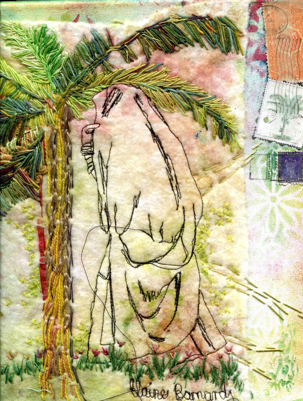 Barnard, Elaine 66 (right hand detail)  She Walks as in a Dream, Fibre art