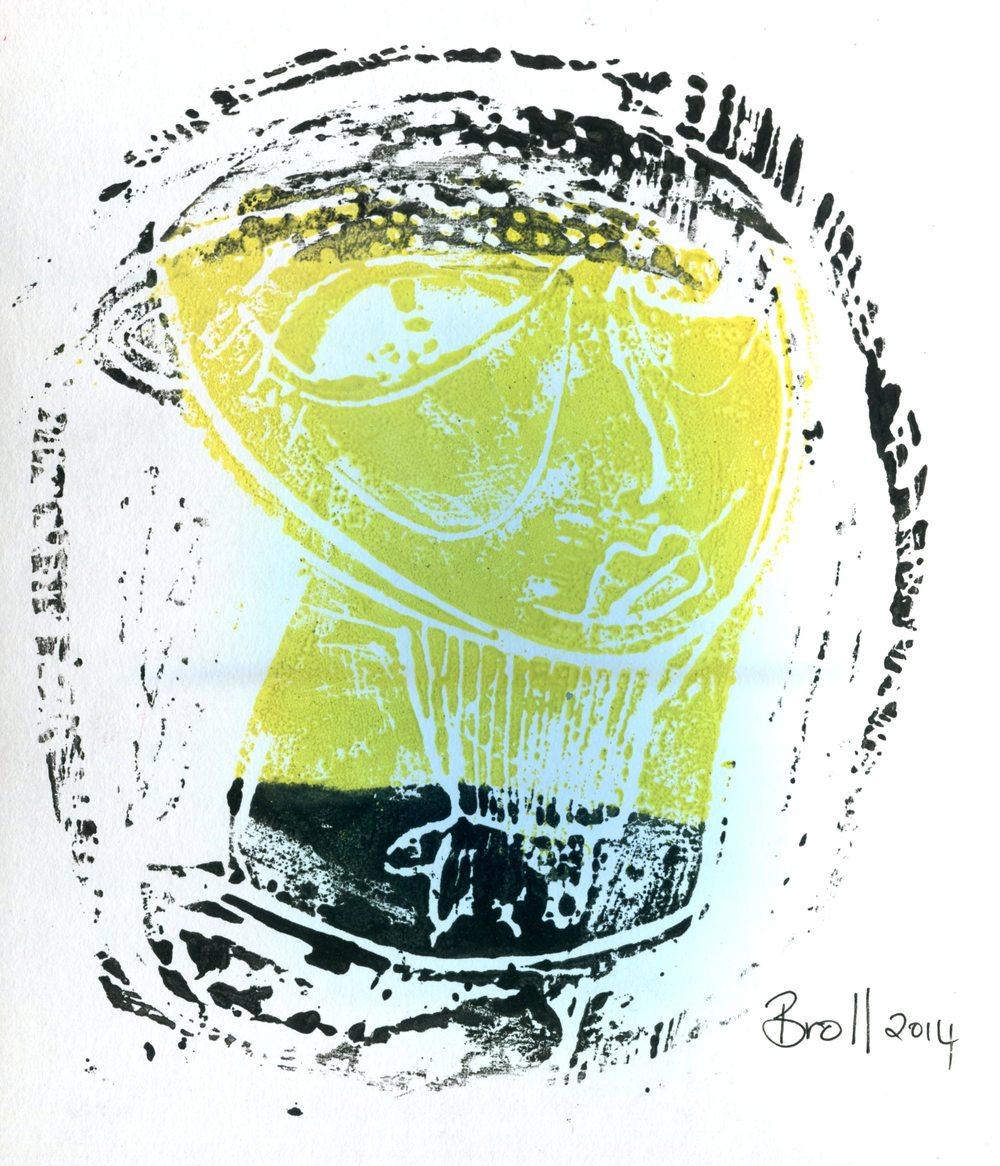 Broll, Terri 57a          Yellow Girl, Lino print