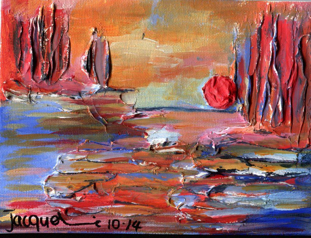Edwards,       Jacqueline  15b Sun Over River, Oil on canvas board.