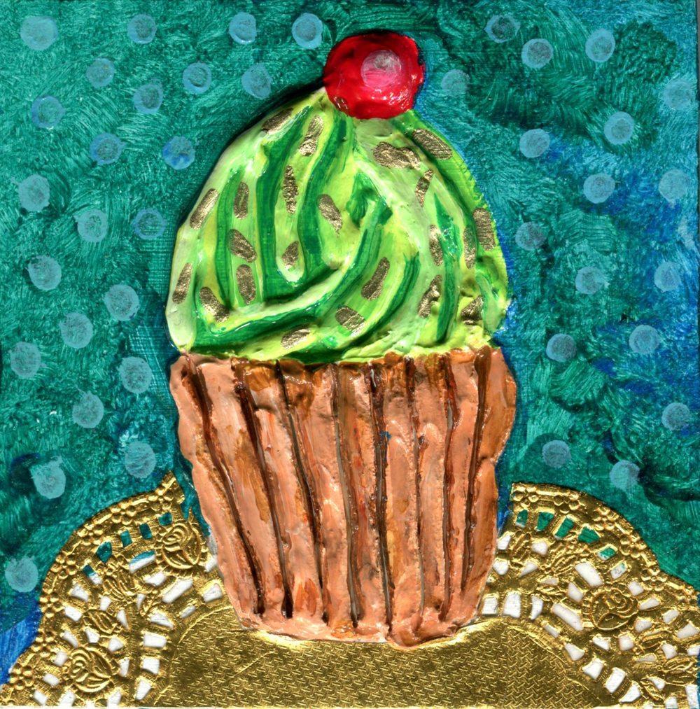 Edwards,      Jacqueline 15c Peppermint Cupcake, Mixed media on wood.j