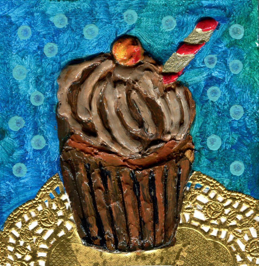 Edwards,    Jacqueline 15c Chocolate Cupcake, Mixed media on wood.