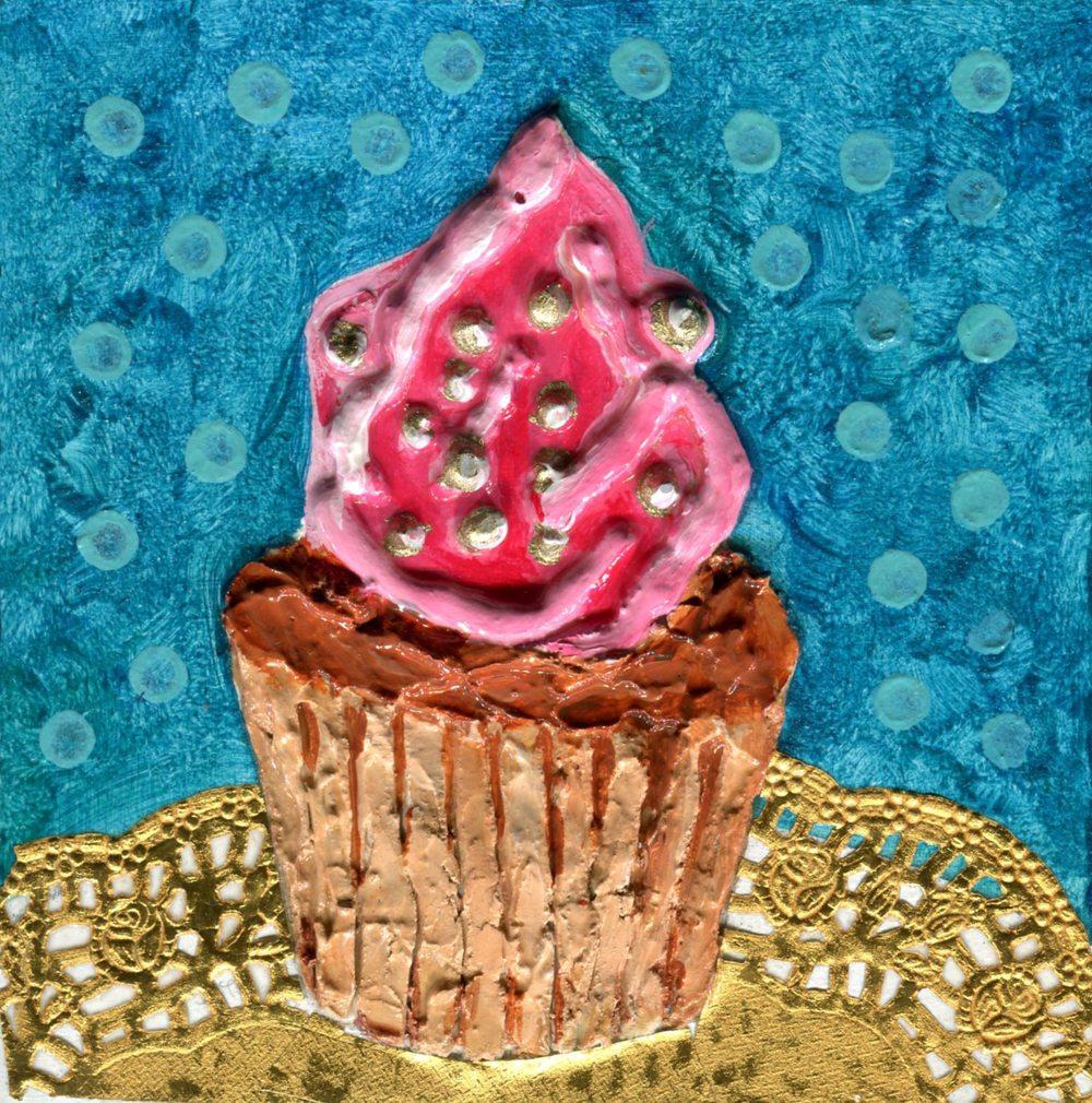Edwards, Jacqueline 15c Strawberry Cupcake, Mixed media on wood.