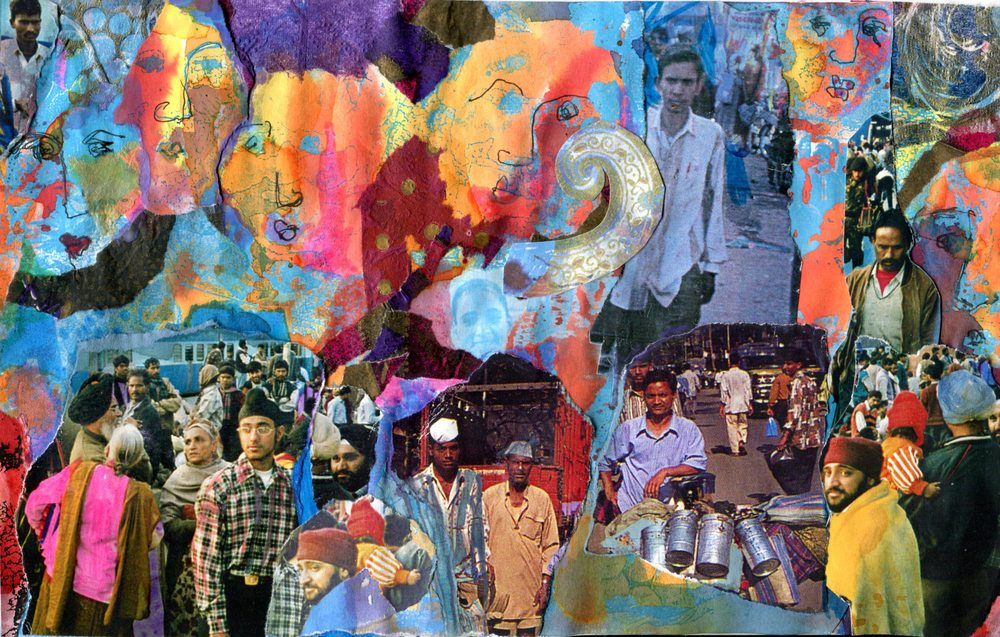 Faulds, Jutta 55a Delhi Station, Waiting for the Train, Collage.