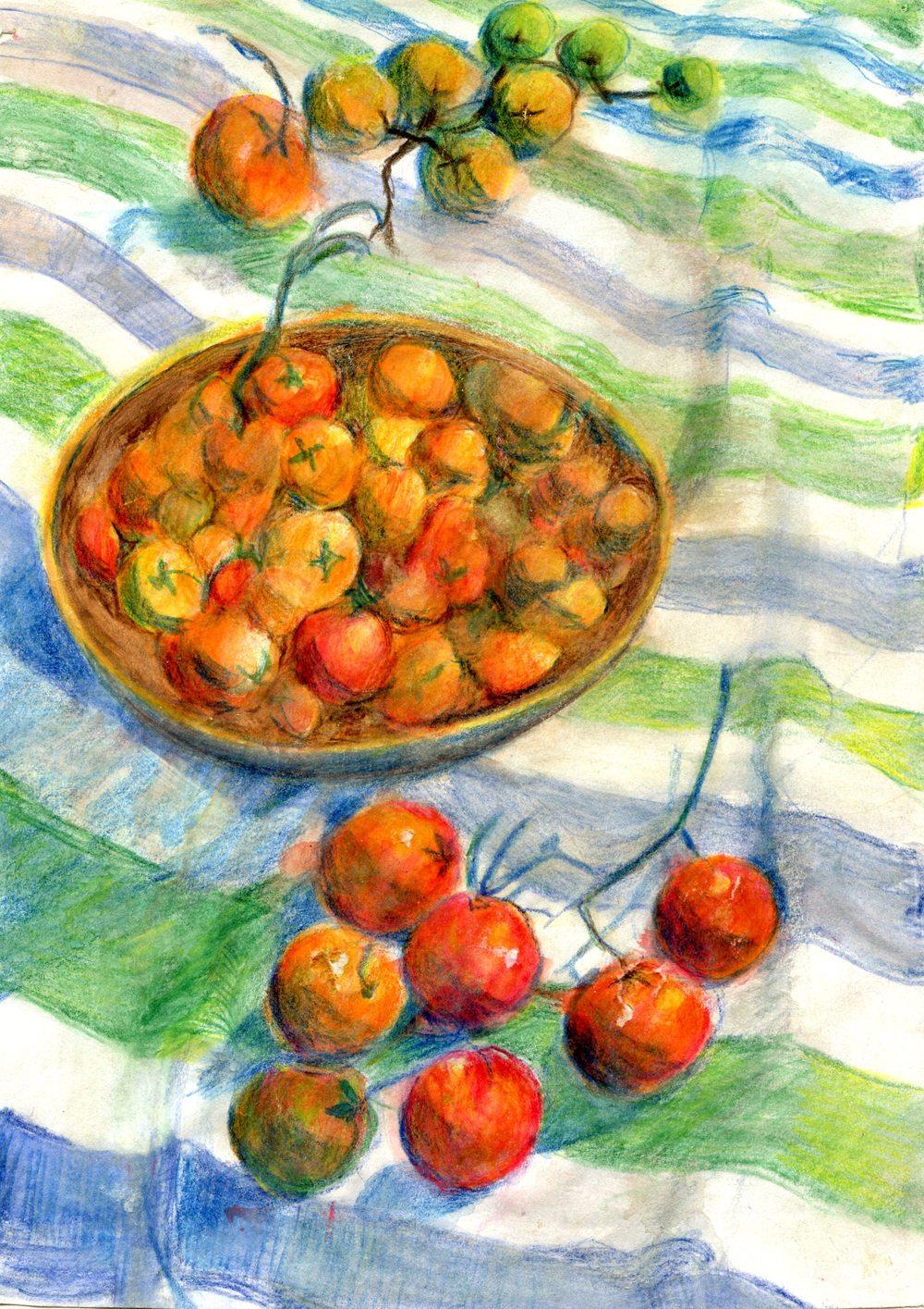 Fairlamb, Ruth  40b Cherry Tomatoes, Aquarelle.