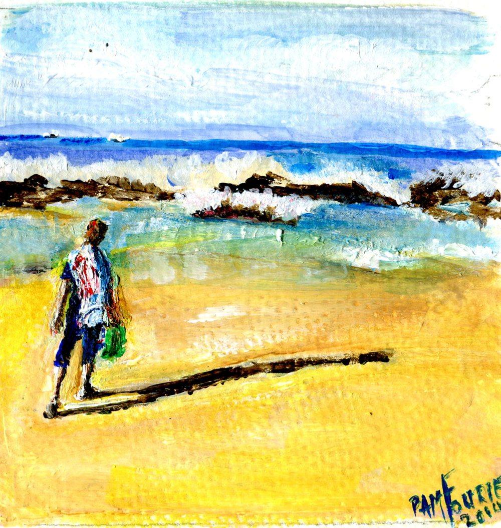 Fourie, Pamela 17b  Early Morning, Umdloti Beach, Acrylic on paper.