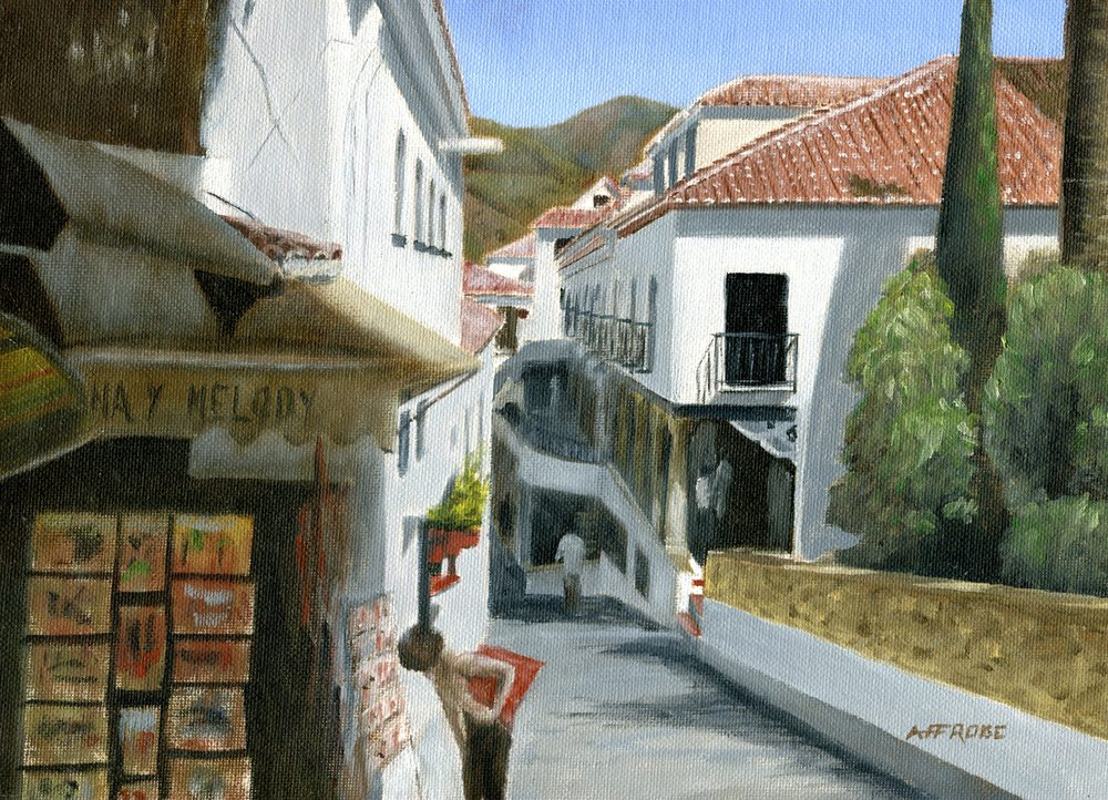 Froise, Fred  27b  Street Scene in Mijab, Spain, Oil on canvas.