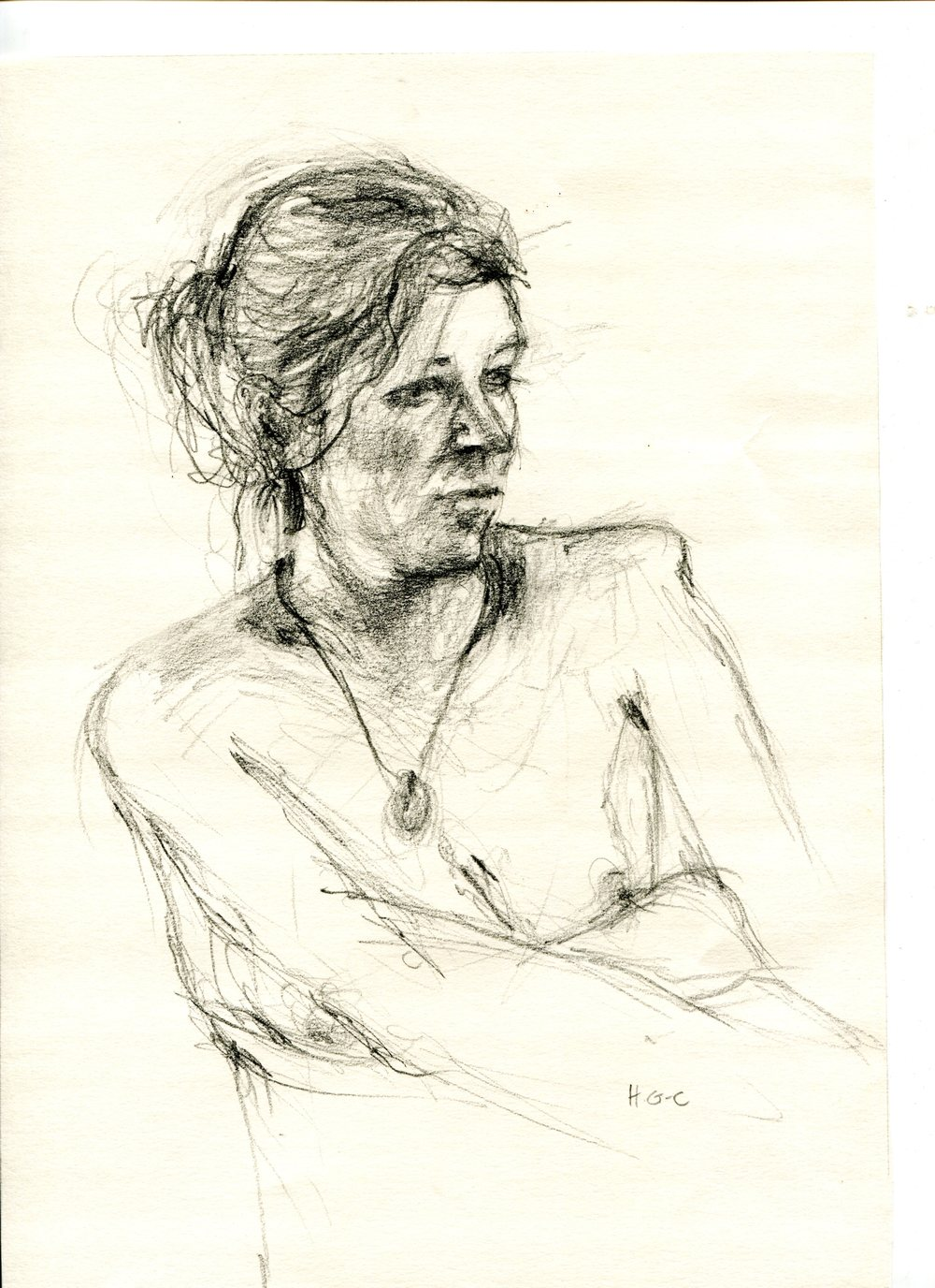Gourlay-Conyngham, Heather 54b Sketch of Megan, Pencil on paper.