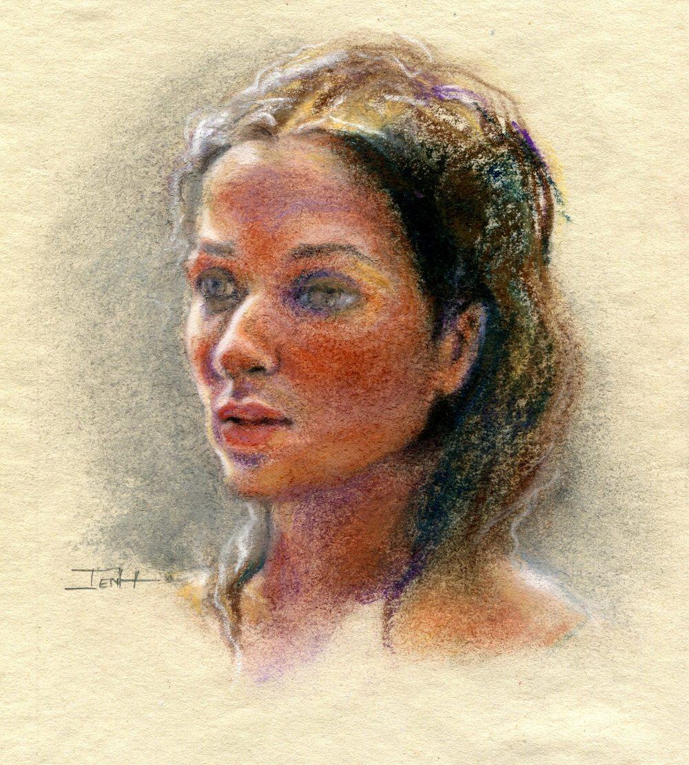 Hallowes, Jenny 37a Born in SA - Rebecca, Pastel on sugar paper.