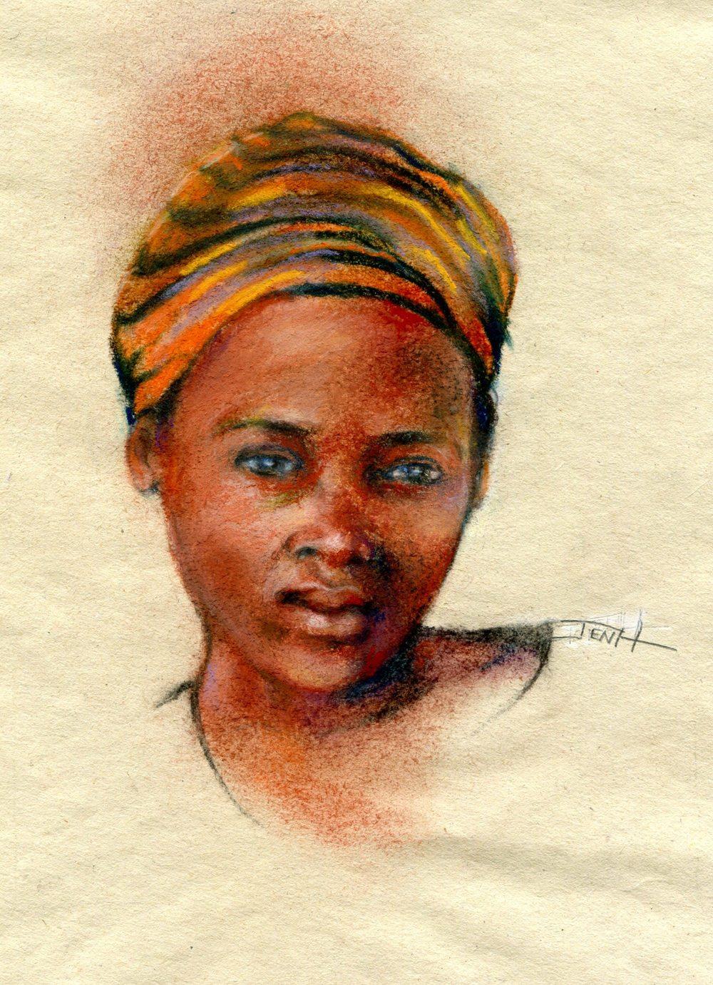Hallowes, Jenny 37b Born in SA - Londeka, Pastel on sugar paper.