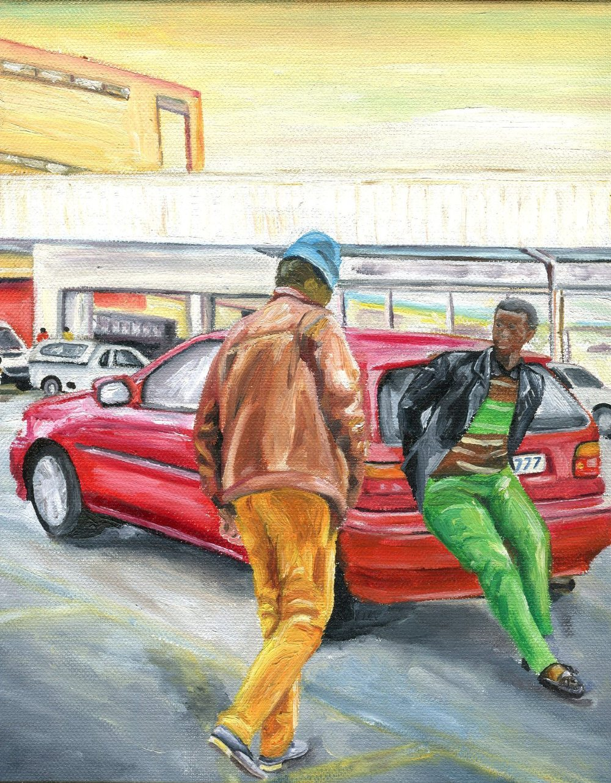Khumalo, Mzwandile  77b Starter Packs, Oil on canvas.