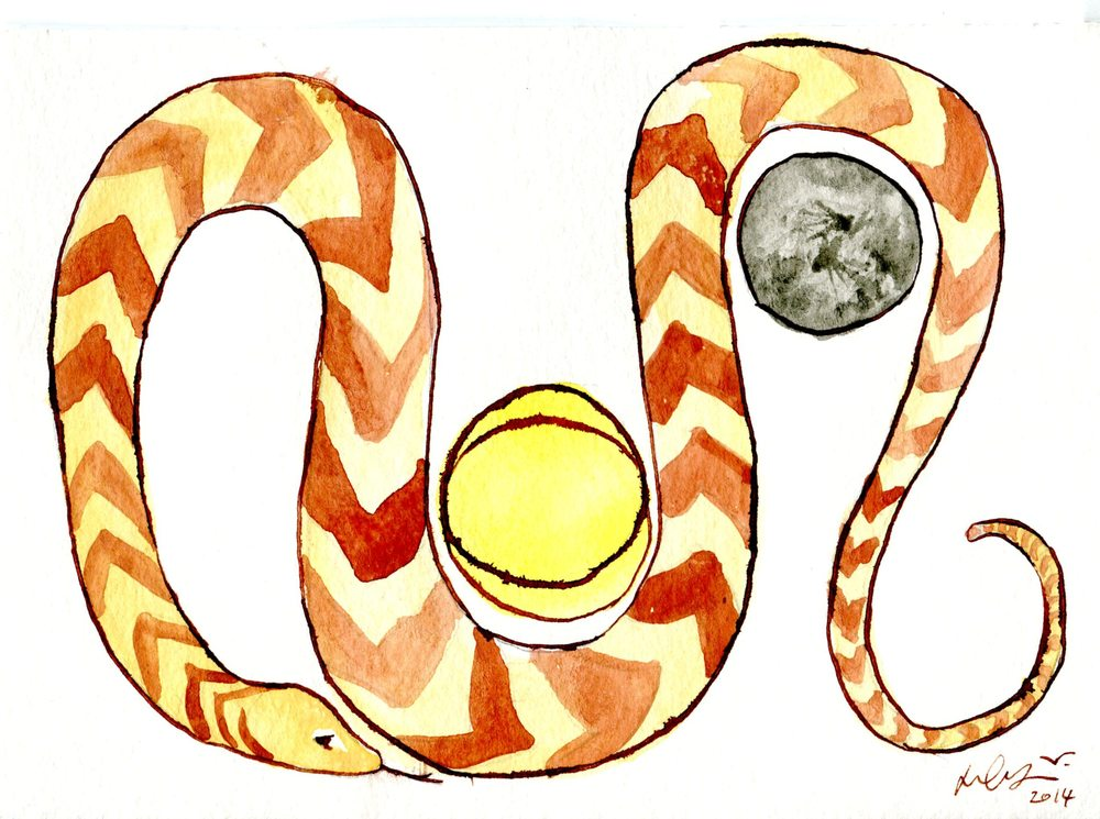 McGarry,  Dylan 68b Overlapping Suns, the Moon and the Thoughtful Puffadder, Watercolour, Indian .
