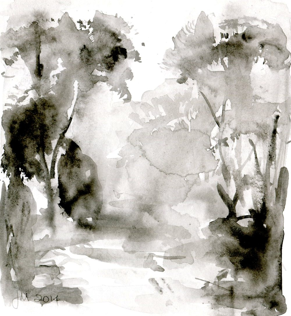 Millborrow, Jennie 30a Forest Scene, Ink & brush.