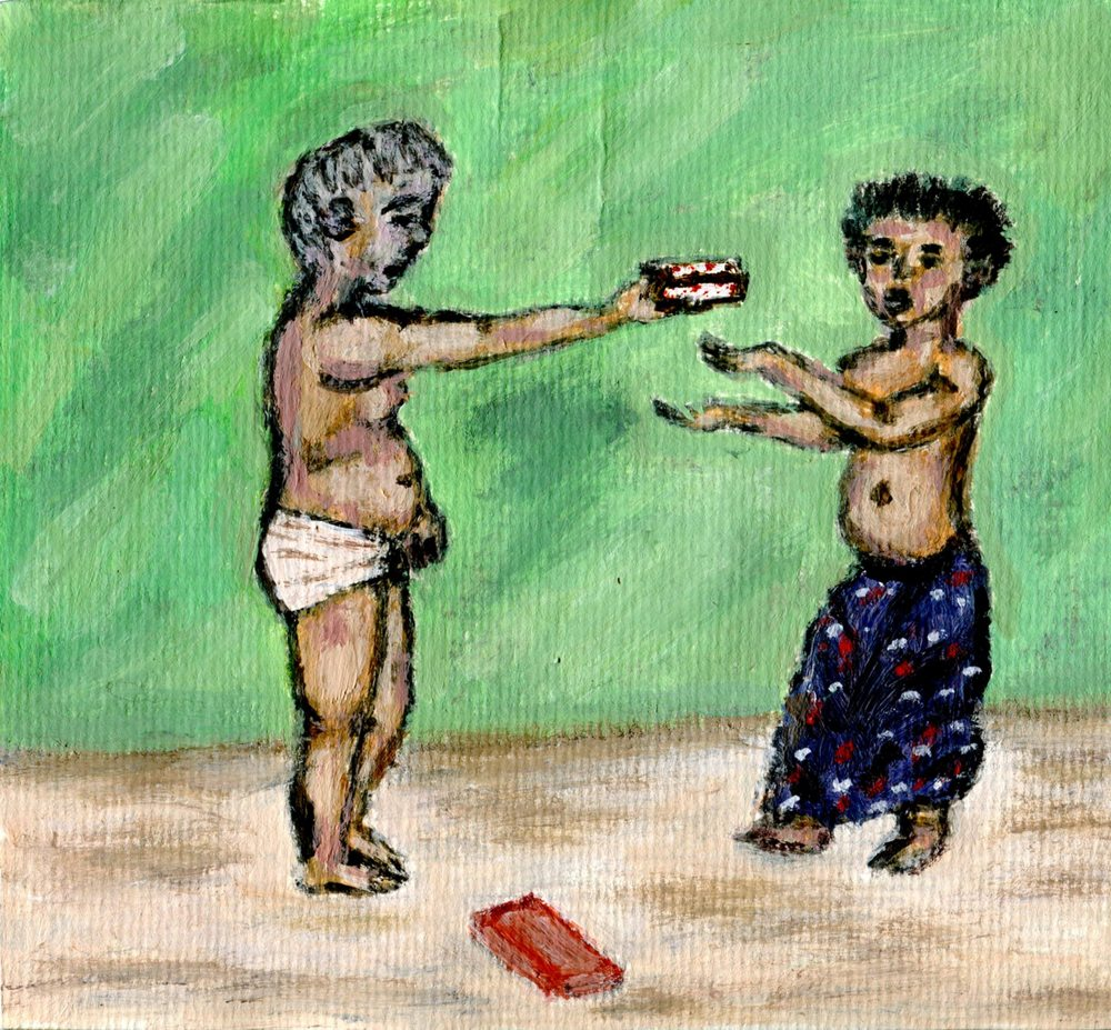 Ngcobo, Bonginkosi  11c Young Giver, Acrylic on paper.