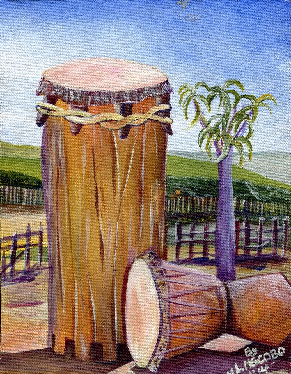 Ngcobo, Mlungisi  Lucky  13b  My Uncle's Drums, Acrylic on canvas board.