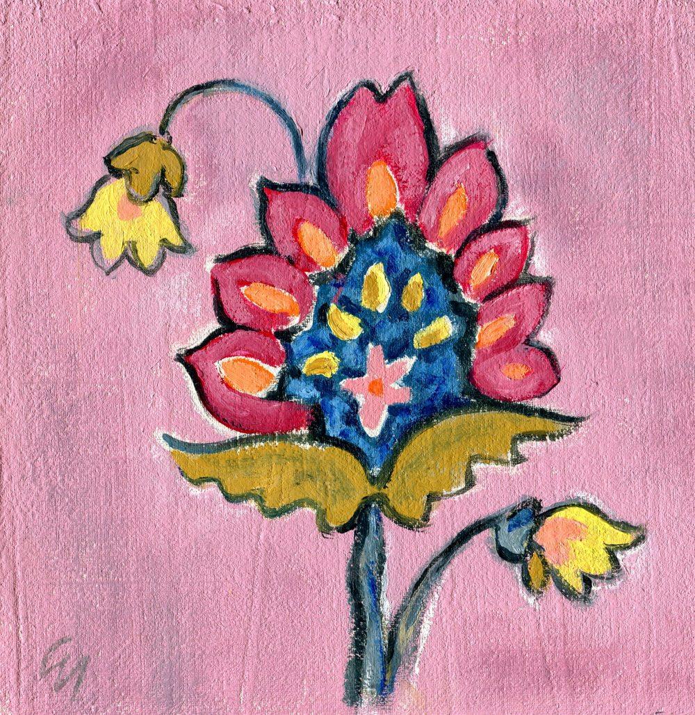 Nicholson, Gill  50a Flower 1, Oil on board.