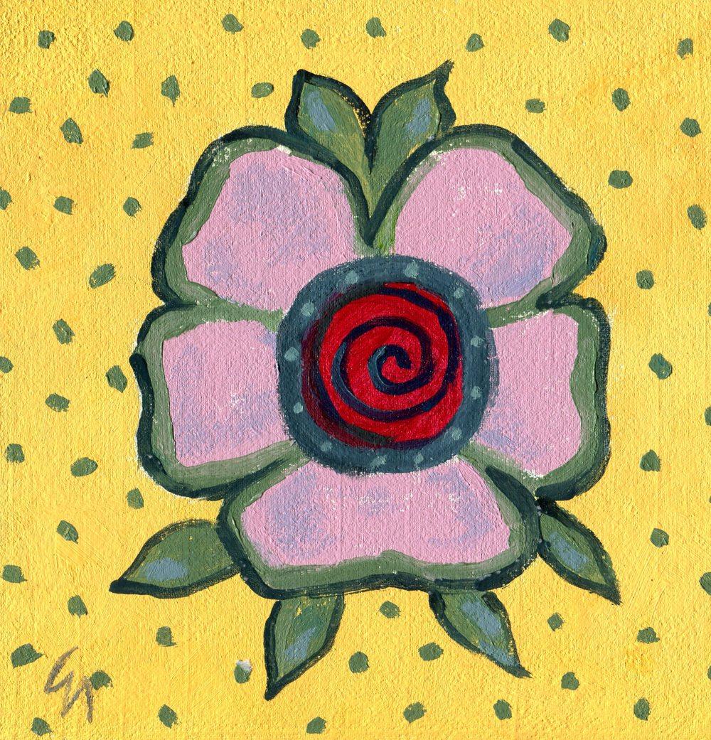 Nicholson, Gill 50b Flower 2, Oil on board.