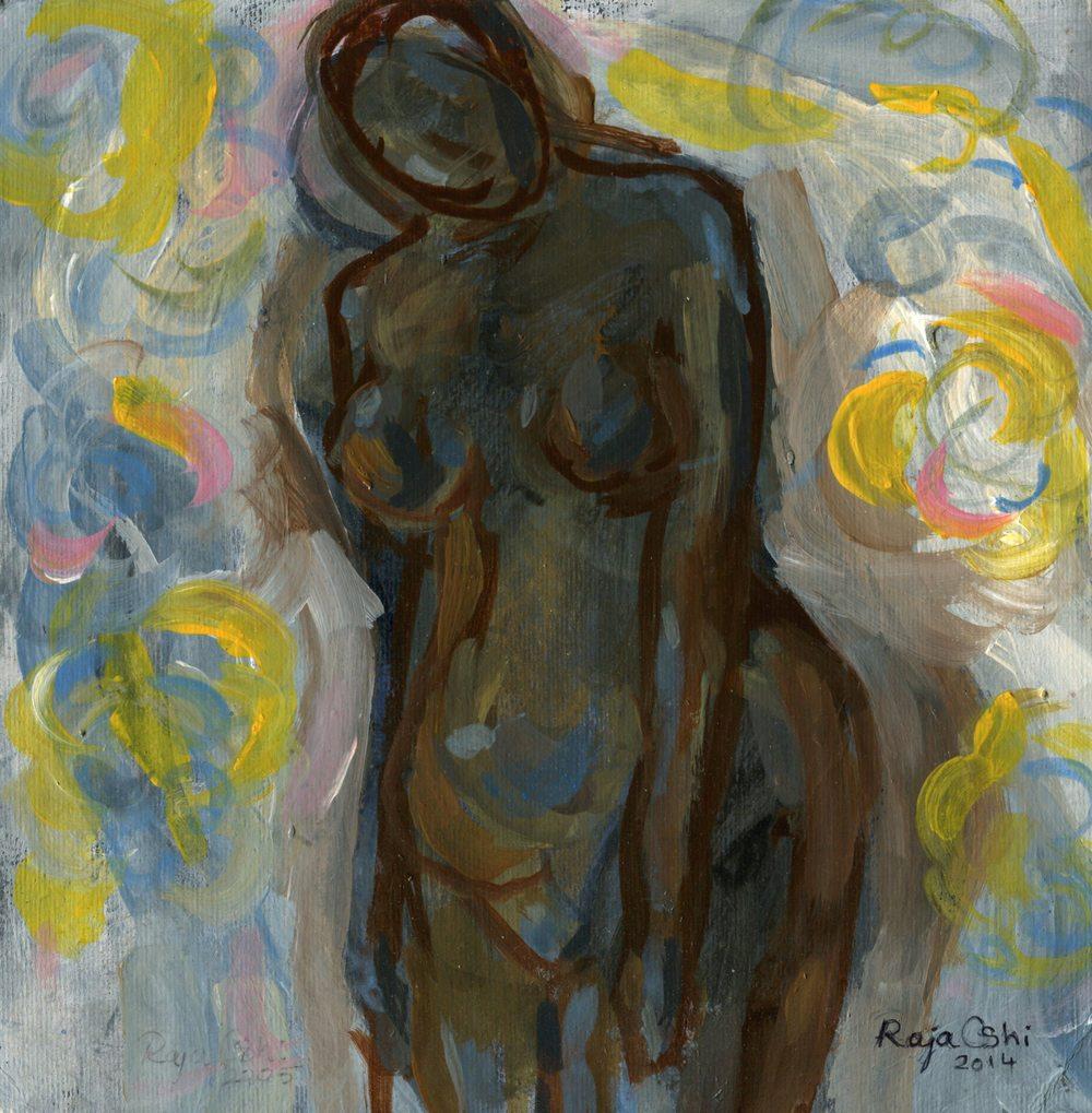 Oshi, Raja          59a Figure of a Woman, Oil on card.