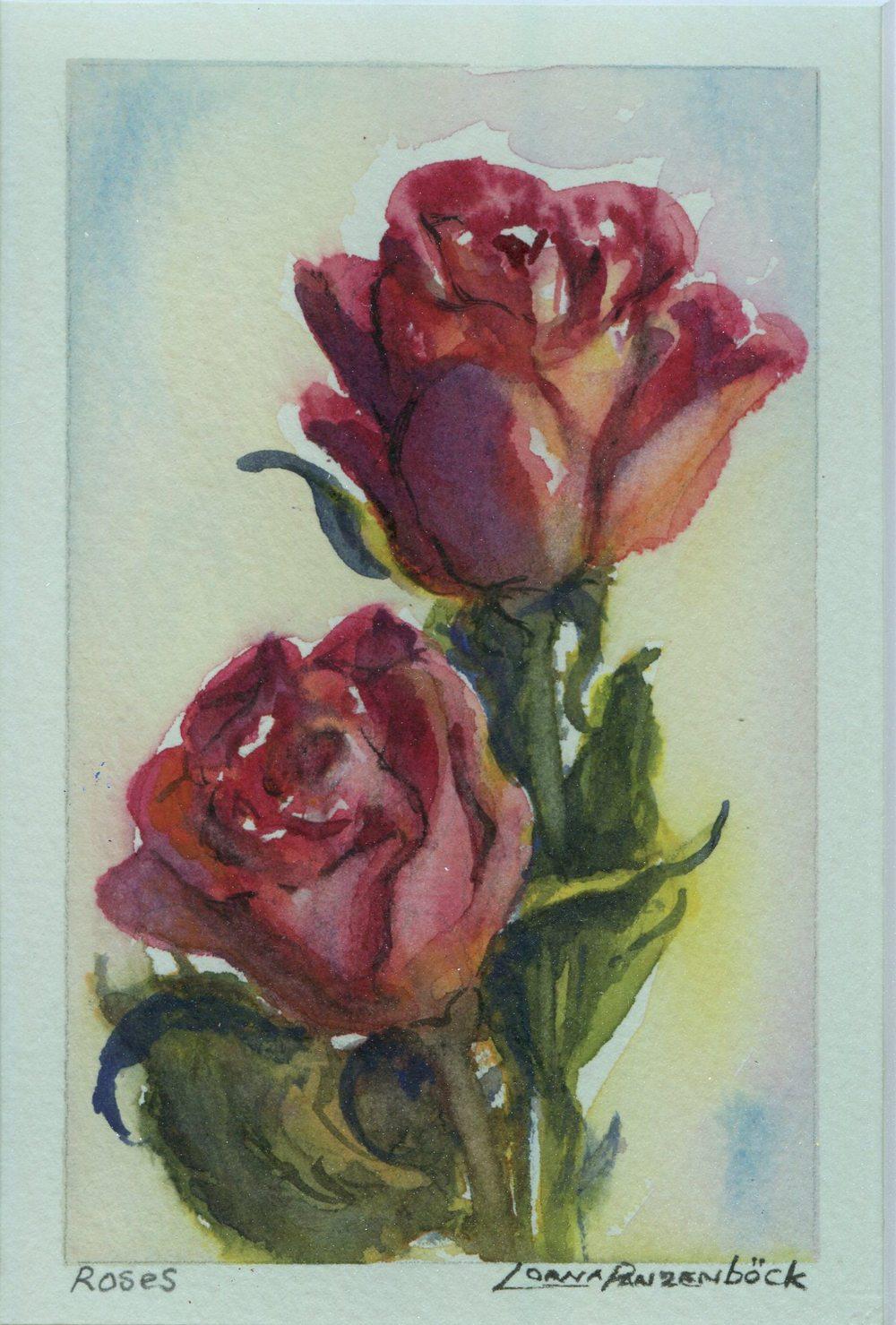 Panzenbock, Lorna 85 Roses, Water-colour