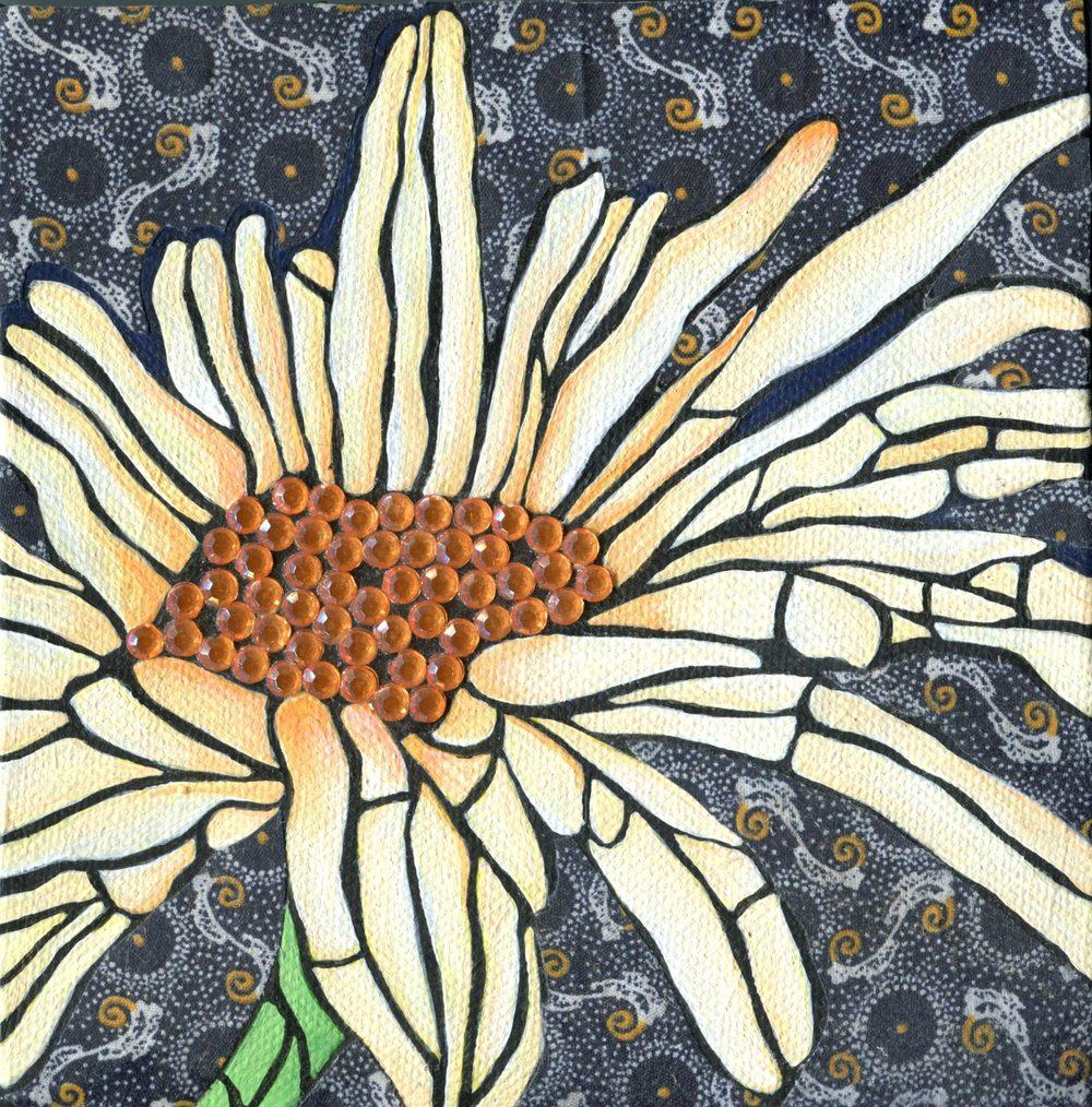 Scheepers, Liesl 26   Sunflower, Mixed media.