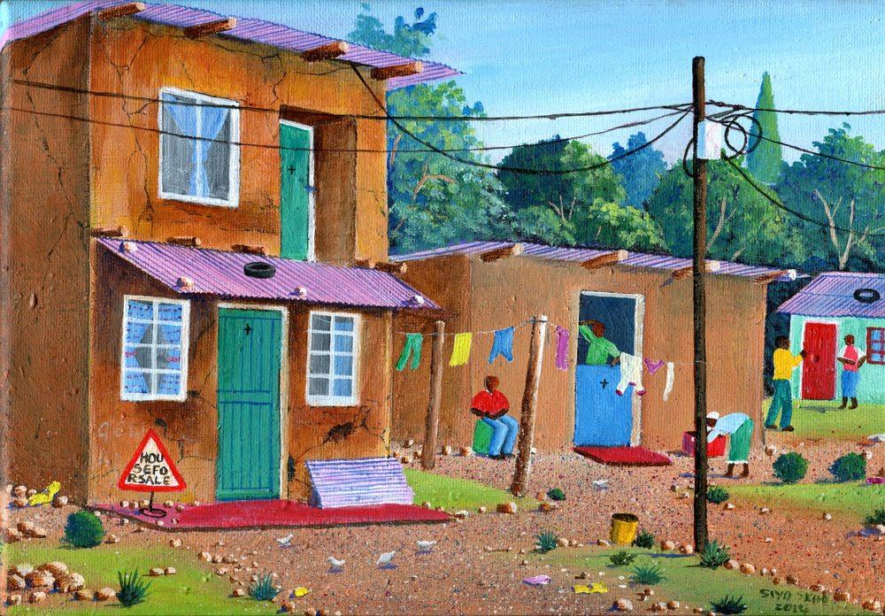 Sikosana, Siyabonga         67a House for Sale, Acrylic on canvas.